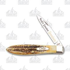O/Case World's Greatest Grandson Knife Tru-Sharp Surgical Stainless Steel 6.5 Bone Stag Handle