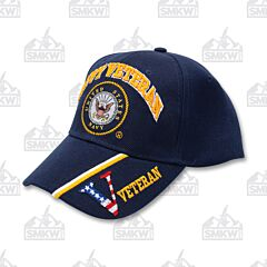 Navy Veteran Emblem Velcro Back Cap Blue