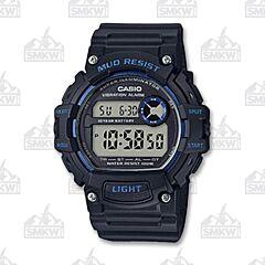 Casio Men's Mud Resistant Digital Black and Blue Watch