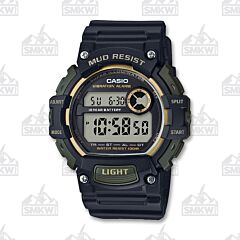 Casio Men's Mud Resistant Digital Black and Gold Watch