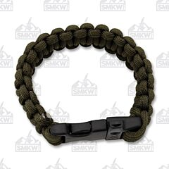 Combat Ready Survival Bracelet Green with Whistle