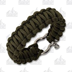 Combat Ready Survival Bracelet Green with Metal Buckle