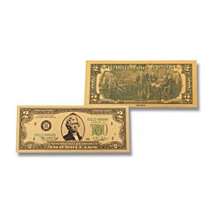 24K Gold 2 Dollar Foil Bill