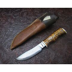Jay Hendrickson Custom Hunter Damascus Steel Curly Maple Handles
