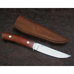 George Herron custom Hunter knife 4.439 inch blade with pink ivory wood handles serial number 2066 stainless steel plain blade edge