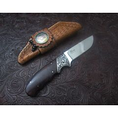 D' Holder custom drop point knife 3.625 inch blade with exotic wood handles stainless steel plain blade edge