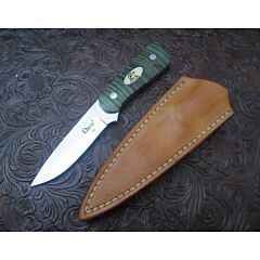 Loyd McConnell custom Orvis Boot knife 3.125 inch blade green curly maple handles stainless steel plain blade edge