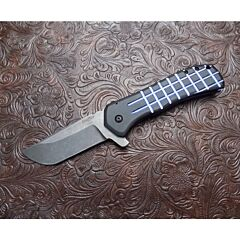 Shiffer custom recon 3.375 inch blade with grooved titanium handle CPM-154 stainless steel blade plain blade edge