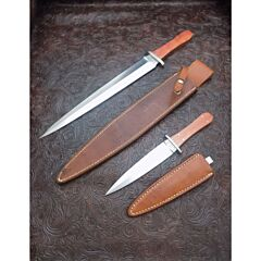 Rare Jimmy Lile Knives Custom Twin Dagger Knife Set with Exotic Pink Ivory Wood Handles