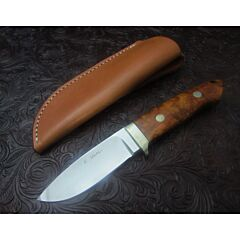 Koji Hara Custom Loveless style drop point knife with burl wood handles ATS-34 stainless steel plain blade edge