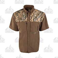 Drake Camo Wingshooter's Short Sleeve Button Down Shirt Two Tone Shadowgrass