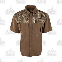 Drake Camo Wingshooter's Short Sleeve Button Down Shirt Two Tone Realtree Timber