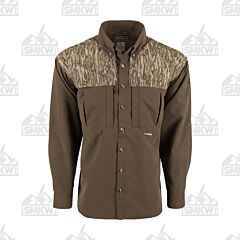 Drake Camo Wingshooter's Long Sleeve Button Down Shirt Two Tone Mossy Oak Bottomland