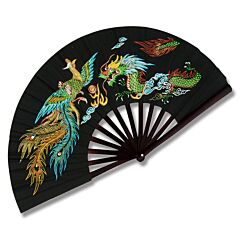 Master Cutlery Bamboo Frame Kung Fu Phoenix & Dragon with Black Finish Fighting Fan Model 2504B