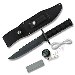 Survival Knife Black Blade Black Handle