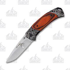 Elk Ridge Manual Folding Knife Satin Finish 3Cr13 Stainless Steel Blade Pakkawood Handle