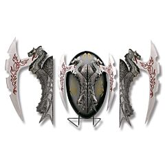 Twin Fire Dragons Fantasy Knife with Display