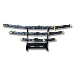 Master Cutlery 3 Piece Samurai Sword Set with Cord Wrapped Handles and Stainless Steel Plain Edge Blades Model JL-021BL4