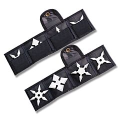 Master Cutlery Mini Throwing Star Set of 3 with Silver Stainless Steel Construction with Pouch Model JL-4S