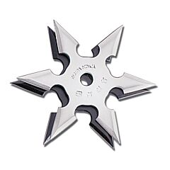 "Master Cutlery 4"" Diameter 6 Point Throwing Star with Silver Stainless Steel Construction Model JL-SS4"