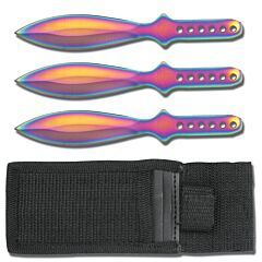 "3pc Rainbow Stainless Steel Throwing Knives with Sheath - 6"" Overall"