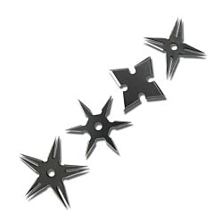 "4pc Two Tone Black Stainless Steel Assorted Throwing Stars with Pouch - 2.5"" Diameter"