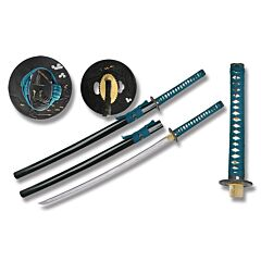 Turquoise Cord Wrapped Carbon Steel Katana