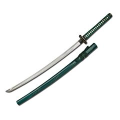 Master Cutlery Hand Sharpened Carbon Steel Katana with Green Scabbard