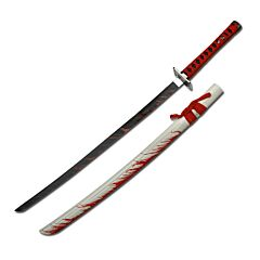 "Carbon Steel ""Blood Splash"" Samurai Katana with White Scabbard"
