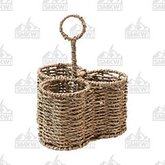 Creative Co Op Woven Seagrass Caddy with 3 Sections