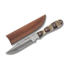 Smokehouse Sidearm Fixed Blade with Stacked Stag and Wood Handles and Damascus Steel Clip Point Plain Edge Blades Model DM-1108