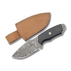 Damascus Wide Belly Fixed Blade Buffalo Horn