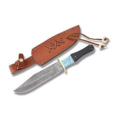 "Rite Edge Bowie with Cape Buffalo Horn Handles and Damascus Steel 6.875"" Clip Point Plain Edge Blades Model DM-1149"