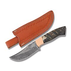 "Rite Edge Hunter with Rams Buffalo Horn Handles and Damascus Steel 4.25"" Clip Point Plain Edge Blades Model DM-1152"