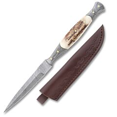 Slim Damascus Steel Blade Stag Handle Dagger