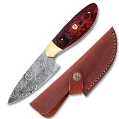 Rite Edge Red Wood Hunter Damascus Steel Blade Wood Handle