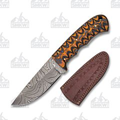 Black and Brown Grooved Wood Damascus Fixed Blade