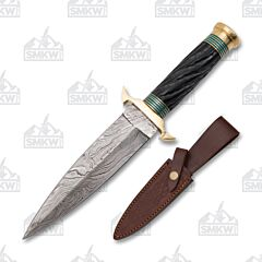 Spiral Jigged Horn Wood Damascus Fixed Blade