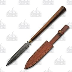 Wood Handle Damascus Spear