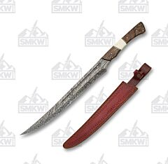 Szco Damascus Short Sword Damascus Steel Blade Walnut and Bone Handle