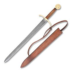 Rite Edge Medium Period Sword Damascus Steel Blade Wood Handle