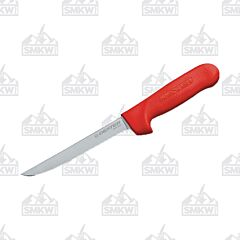 "Dexter Sani-Safe Narrow Boning Knife with Red Polypropylene Handles and Stainless Steel 6"" Boning Plain Edge Blades Model S136VR-PCP"