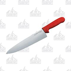 "Dexter Russell Sani-Safe Cook's Knife with Red Polypropylene Handles and Stainless Steel 8"" Plain Edge Blades Model 12433R"