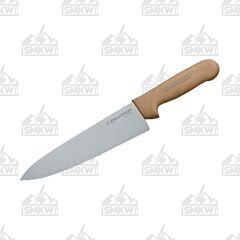 "Dexter Russell Sani-Safe Cook's Knife with Tan Polypropylene Handles and Stainless Steel 8"" Plain Edge Blades Model S145 10T PCP"