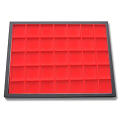 "Hardboard Compartmentalized Display Case 16"" x 12"" x 3/4"" with Red Insert"
