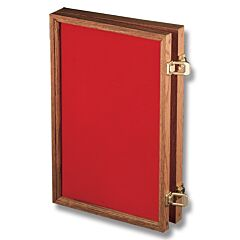 """Solid Oak Display Case with Red Velvet Inserts (18"""" x 12"""" x 2"""")"""