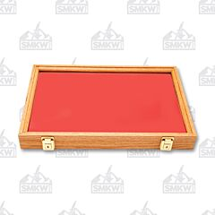 "Solid Oak Display Case with Red Velvet Inserts (18"" x 12"" x 2"")"