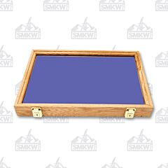 "Solid Oak Display Case with Blue Flame Velvet Inserts (18"" x 12"" x 2"")"