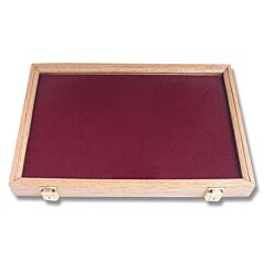 "Solid Oak Display Case with Dior Red Velvet Insert ( 18"" x 12"" x 2"")"