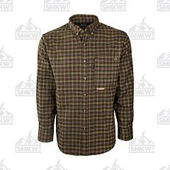 Drake Hunter Green and Tan Autumn Brushed Twill Plaid Shirt